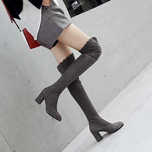 KPHY Damenschuhe Schlanke Beine Elastische Stiefel Knielangen Stiefeln Stiefeln Stiefeln Dicken Absätzen 8 cm High Heels Hohe Stiefel.35 Schwarz fe944e