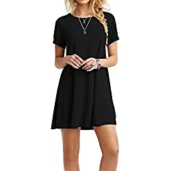TINYHI Women's Swing Loose Short Sleeve Tshirt Fit Comfy Casual Flowy Tunic Cotton Dress
