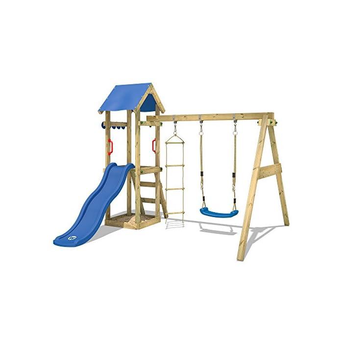 41qNeZi48QL Parque infantil con tobogán, columpio, escalera inclinada y tola - Calidad y seguridad aprobada Madera maciza impregnada a presión - Poste 7x4,5cm - Poste de columpio 9x9cm Varias opciones de montaje - Instrucciones de montaje detalladas - Made in Germany