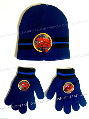 Official Marvel Kids Boys Spiderman Beanie Hat And Gloves Set One Size Ages 4-10 In Royal Blue & Dark Blue