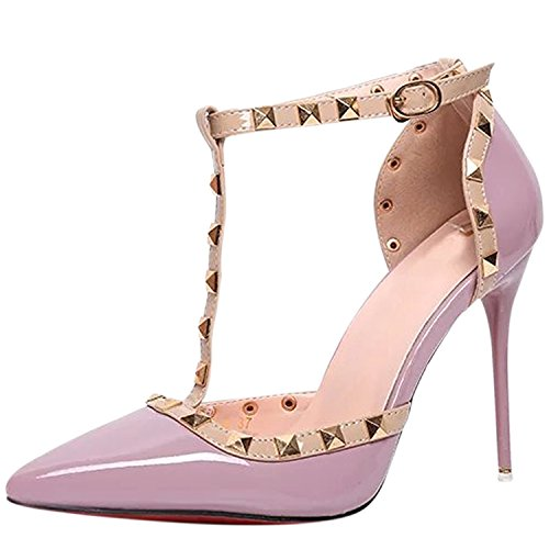 Oasap Women's Pointed Toe T-strap Rivet Stiletto Sandals Purple uMmTZv7G1D