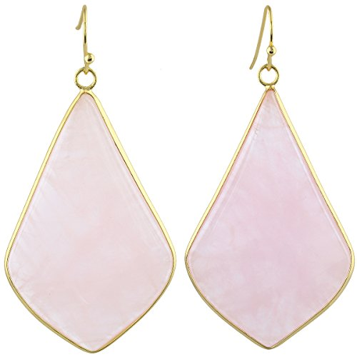 (SUNYIK Women's Rose Quartz Large Rhombus Dangle Earrings )