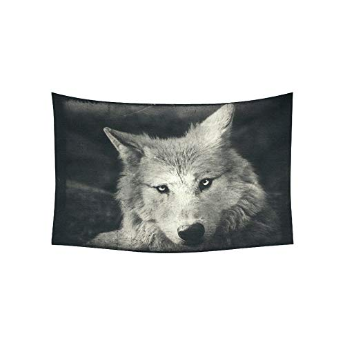 WBSNDB Tapestry Awesome Halloween Wallpaper Mystical Wolf Tapestries Wall Hanging Flower Psychedelic Tapestry Wall Hanging Indian Dorm Decor Living Room Bedroom 60 X 40 Inch]()