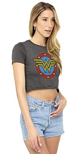 Wonder Woman Vintage Logo Juniors Teen Girls Crop Top T Shirt & Stickers - http://coolthings.us