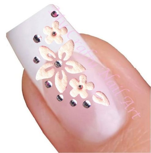 Nailart Sticker Blume Weiß selbstklebend mit silbernem Strass My Crafty Nail Art