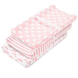 Changing Pad Cover – Baby Changing Pad Covers 3 Pack – Girl Changing Pad Cover – Pure Cotton Machine Washable Pink and White Changing Table Cover – Diaper Changing Pad Cover Sheets