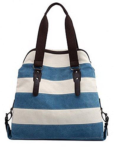 AgooLar Mujeres Trabajo Viajes cortos Bolsos cruzados Lona Bolsas de hombro, GMXBA181397, Azul Azul
