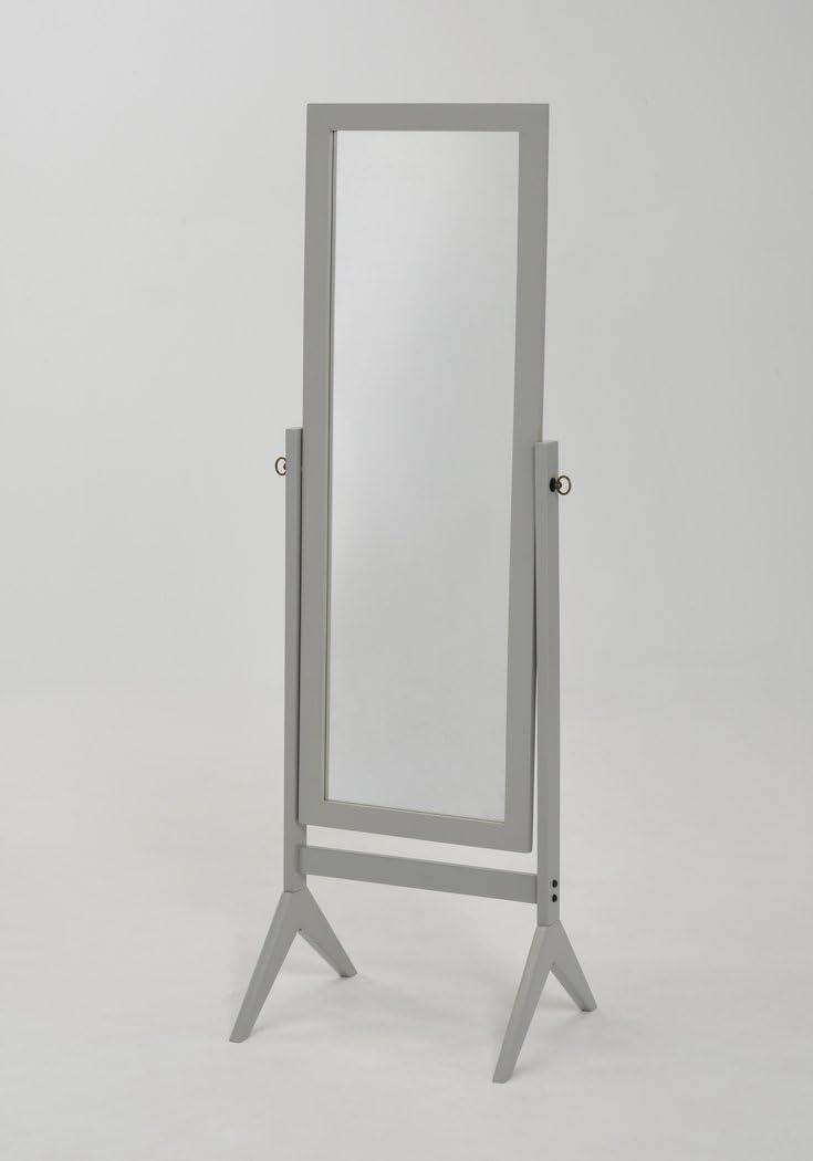 eHomeProducts Grey Finish Wooden Cheval Bedroom Floor Mirror