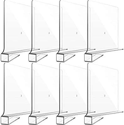 Kitchen and Office Storage and Organization No Installation Tools Required 8 Pieces Acrylic Shelf Dividers Closets Shelf Separators Multi-functional Clear Shelf Dividers for Bedroom