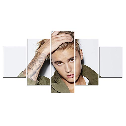 Dionysios Art HD Print Home Decor Justin Bieber Paintings for Living Room Wall Poster Picture - 5 Piece Canvas Set Without Frame (Justin Bieber Picture Frame)