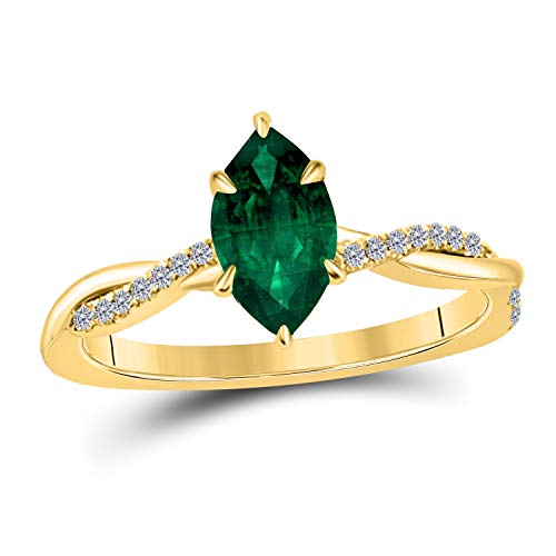 Jewelryhub 1.20 Ct Marquise Shape Created Green Emerald 14K Yellow Gold Finish Sterling Silver Swirl Style Engagement Ring for Women's Birthday Gift