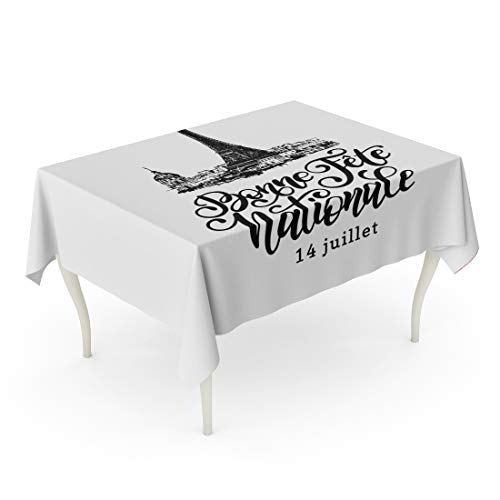 Tarolo Rectangle Tablecloth 52 x 70 Inch 14Th July Calligraphic for Eiffel Tower Sketched French Phrase Bonne Fete Nationale Translated Happy National Day Bastille Table Cloth