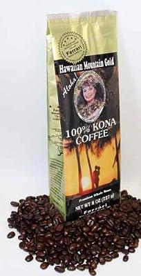 100% Kona Hawaiian Mountain Gold Coffee (8oz Bean)