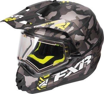 FXR Torque X Squadron Gray Urban Camo/HIVIS Snowmobile Helmet with Electric Shield - Helmet Snowmobile 16