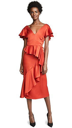 TEMPERLEY London Women's Aviator Midi Dress, Vermilion, Orange, 8