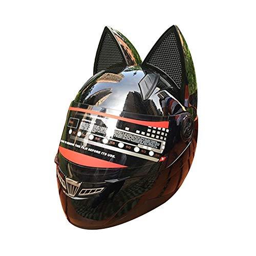 オートバイのヘルメット猫の耳夏フルフェイスレーシングオートバイの人格は四季男性と女性のランニングヘルメットをカバー 保護 (Color : Multi-colo赤, Size : L)