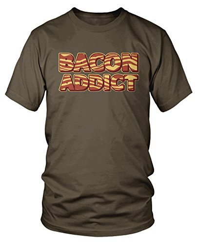 Amdesco Men's Bacon Addict, Pork, Pig Bacon Lover T-Shirt, Dark Chocolate 2XL (Addict T-shirt Dark)