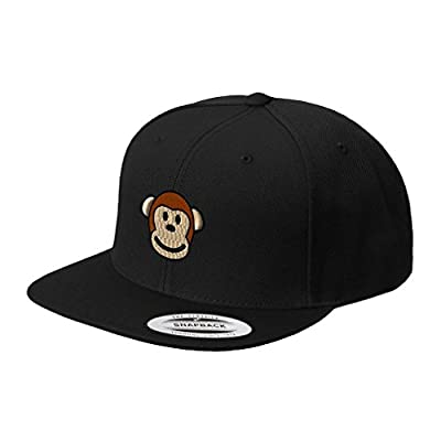 Cute Monkey Face Embroidered Flat Visor Snapback Hat Black