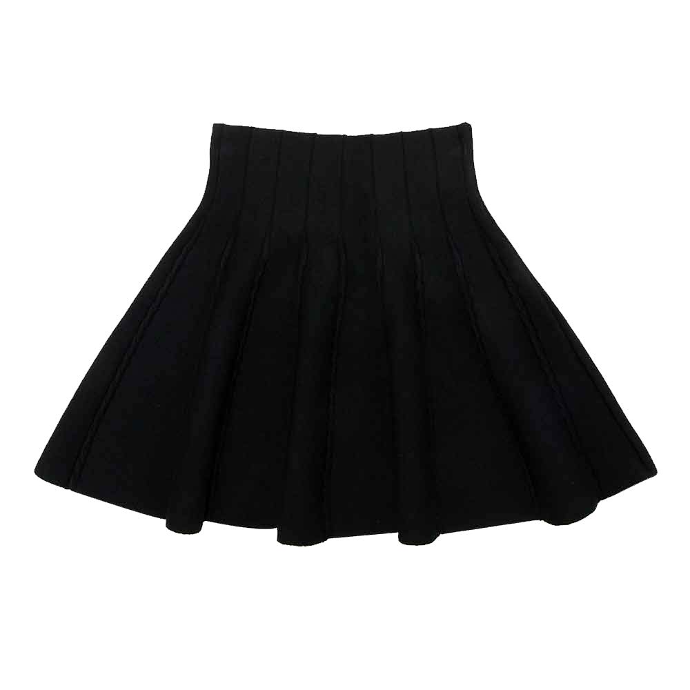Little Big Girls High Waist Knitted Flared Pleated Skater Skirt Casual #2 Black Tag 120 (5-6 Years)