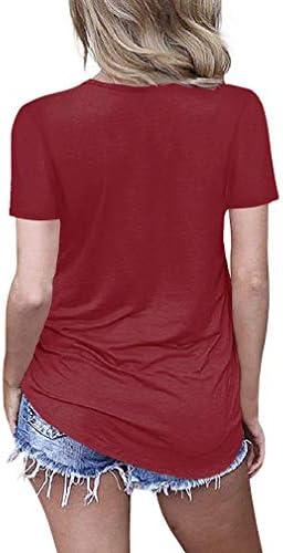 EZBELLE Damska Kurzarm V Ausschnitt Shirts Criss Cross Top Basic T-Shirt: Odzież