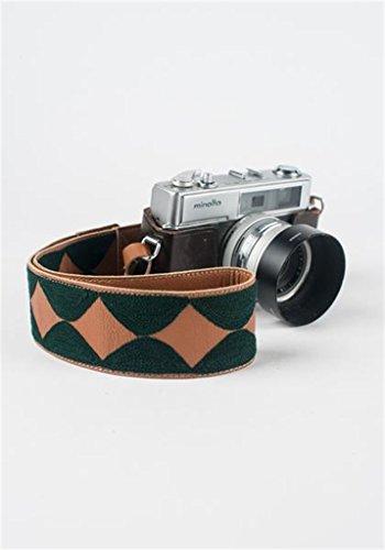 Genuine Leather Camera Neck Strap - Dark Green Scallops - Hand Embroidered - Fits DSLR ()