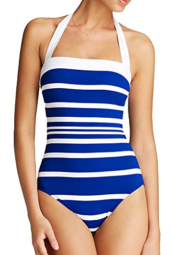 Ralph Lauren One Piece Swimsuit Halter White Straps Maillot with Molded Soft Cups