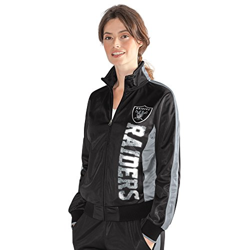 Oakland Raiders Nfl Door - GIII For Her NFL Oakland Raiders Women's Drop Back Track Jacket, Large, Black