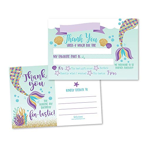 25 Mermaid Glitter Under the Sea Fill In The Blank Kids Thank You Cards, Girls Magical Pool Themed Bday Party Notes, Adult or Children Birthday, Aqua Beach Ocean Supplies Summer Ideas -