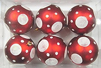 Queens of Christmas WL-ORN-6PK-DOT-RE 6 Pack Ball Ornament with Dot Design, -