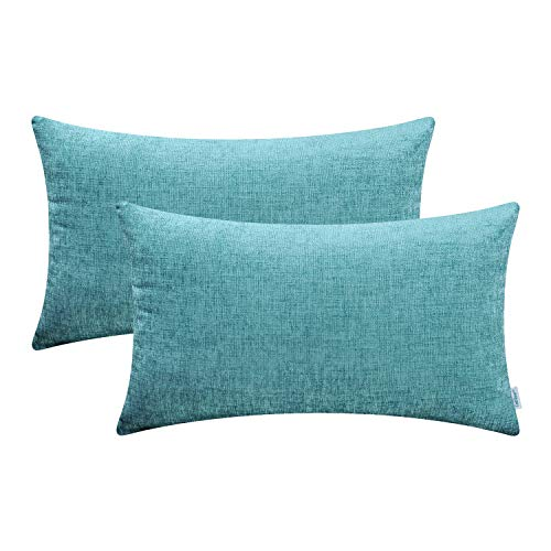 (CaliTime Pack of 2 Cozy Bolster Pillow Covers Cases for Couch Sofa Home Decoration Solid Dyed Soft Chenille 12 X 20 Inches Teal)