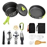 NEWSTYLE Camping Cookware, 15Pcs Backpacking Gear Hiking Outdoors Non Stick Camping Cookware Set 1-2 People Lightweight Compact Durable Pot Pan Bowls