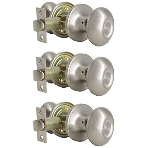 Probrico Egg Style Hall and Closet Passage Door Knobs Brushed Nickel Oval Door Lock(3 Pack)