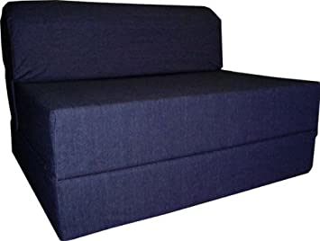 Charming Denim Sleeper Chair Folding Foam Bed Sized 6u0026quot; Thick X 32u0026quot; Wide X  70u0026quot