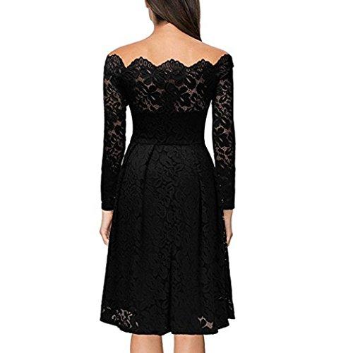 Vestido largos mujer ❤ Amlaiworld Vestido vintage de manga larga para mujer Vestido de fiesta de noche formal de encaje con hombros falda Vestido de ...