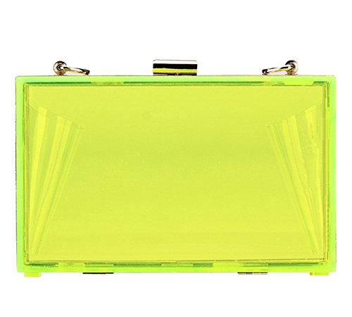 2017 Fashion Transparent Prom Formal Evening Clutch Bag Candy Color Acrylic Party Hand Purse(Lime)