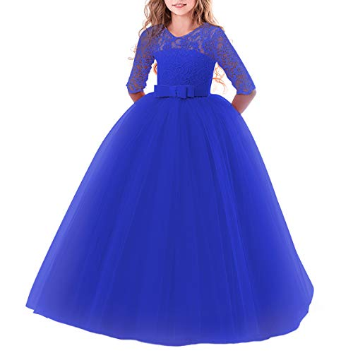 Flower Girl Long Princess Dress Vintage Lace Maxi Gown Kids Formal Wedding Bridesmaid Pageant Tulle Dresses Little Big Girls Elegant Bowknot Dance First Communion Birthday Prom Dresses Royal Blue 9-10