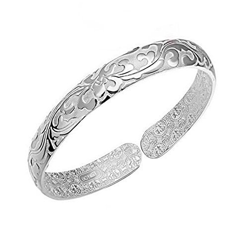 Acxico National Style Brocade Carving 50  Sterling Silver Bracelet