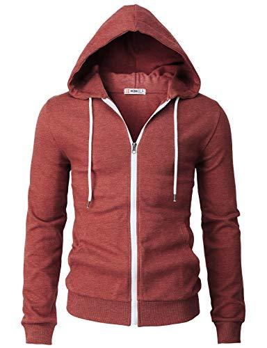 H2H Mens Casual Basic Long Sleeve Zip Up Hoodie Jacket Maroon US L/Asia XL (CMOHOL048)