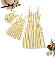 Mom and Daughter Matching Dresses,Striped Sleeveless Sling with Pockets Matching Dress Summer Mother and Daugh