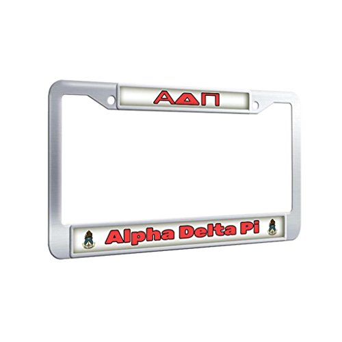 Alpha Delta Pi Protector License Plate Frame Stainless Steel Thin Car License Plate Covers With Security Screws and Screws Caps