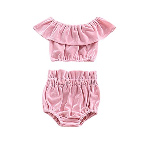 Sleeve Ruffle Bib (JPOQW Baby Girls Outfits, Newborn Baby Girls Off Shoulder Ruffles Sleeve Tops+Shorts Set (Pink, 24 Months))