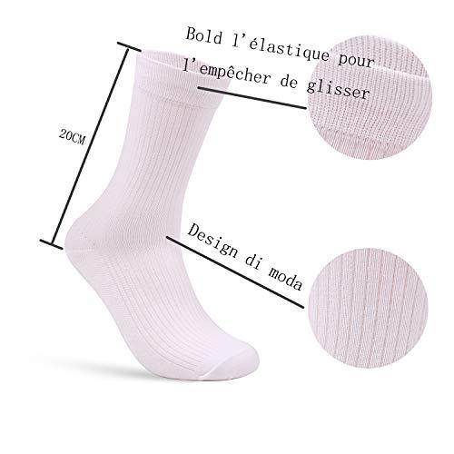 Budermmy Lot de 3 ou 6, 9 paires Chaussettes Homme - Coton - Confortable et Respirante - Taille 39/44- Noir Blanc Gris… 4