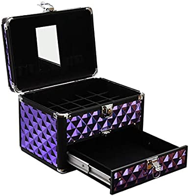 Estuche pequeño portátil con cerradura para joyas, estuche de maquillaje, estuche para esmaltes de uñas, cosméticos, accesorios, estuche de almacenamiento, color morado diamante: Amazon.es: Belleza