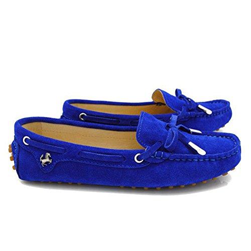 Minitoo - Mocasines para para mujer, estilo Casual, ante, con lazo azul real