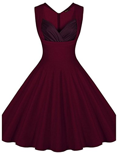[outfits for women Vintage Cut Out Polka Flower Pattern 50's Bridesmaid Cocktail WINE S] (Fifties Outfit)