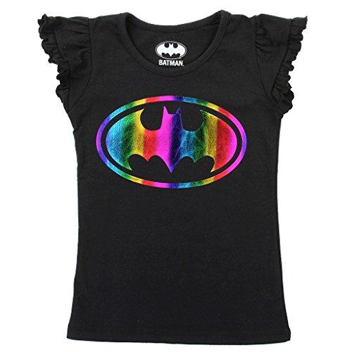 Batgirl Toddler Little Girls Rainbow Logo T-Shirt (4T, Black)
