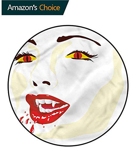 RUGSMAT Vampire Super Soft Circle Rugs for Girls,Vamp Face Vivid Sexy for Home Decor Bedroom Kitchen Etc Round-51