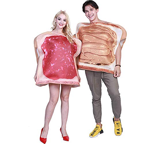 Couples Halloween Costumes for Adults Plus Size Funny Food Peanut Butter and Jelly Costume (Free Size, Jam Suit Couple) Brown -