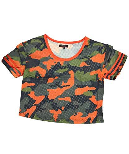 Momodani Women's Eyelet Mesh Short Sleeve Basketball Jersey Slim Soccer Jersey,Orange Camouflage,Small