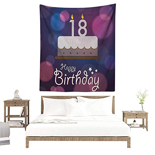 WilliamsDecor Polyester Tapestry 18th Birthday Cartoon Birthday Party Cake with Candles Vibrant Abstract Backdrop 40W x 60L INCH Suitable for Living Room, Bedroom, Beach